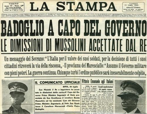 Caduta del Fascismo - 26 luglio 1943 - Prima pagina - La-Stampa