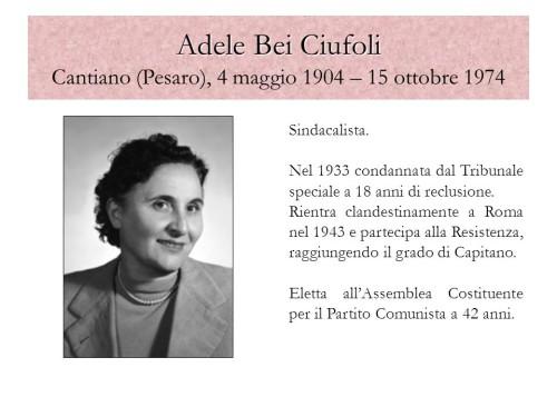 Sindacalista. Nel 1933 condannata dal Tribunale speciale a 18 anni di reclusione. Rientra clandestinamente a Roma nel 1943 e partecipa alla Resistenza, raggiungendo il grado di Capitano. Eletta all'Assemblea Costituente per il Partito Comunista a 42 anni. Porto Viro, 12 novembre 2008.