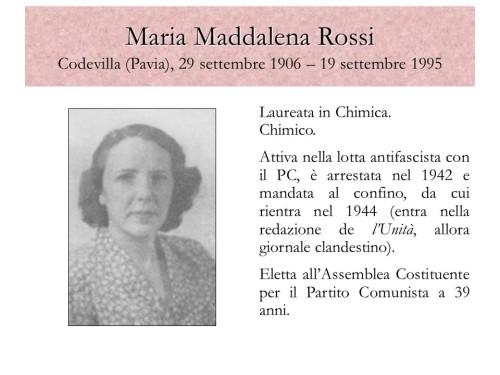 Laureata in Chimica. Chimico. Attiva nella lotta antifascista con il PC, è arrestata nel 1942 e mandata al confino, da cui rientra nel 1944 (entra nella redazione de l'Unità, allora giornale clandestino). Eletta all'Assemblea Costituente per il Partito Comunista a 39 anni. Porto Viro, 12 novembre 2008.