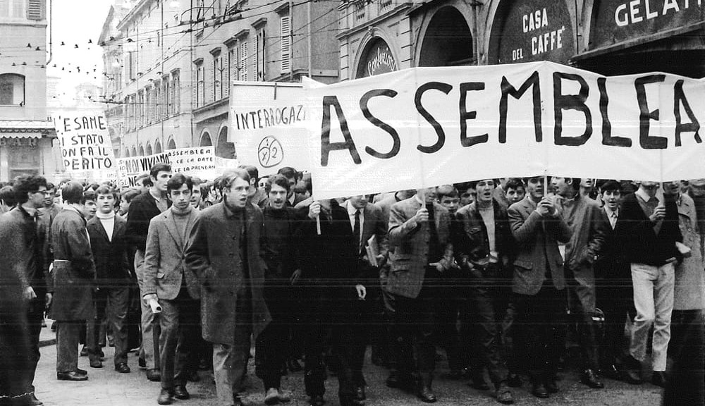 Manifestazione di studenti per il diritto all'assemblea, Modena 1968 - Archivio Istituto storico di Modena-2